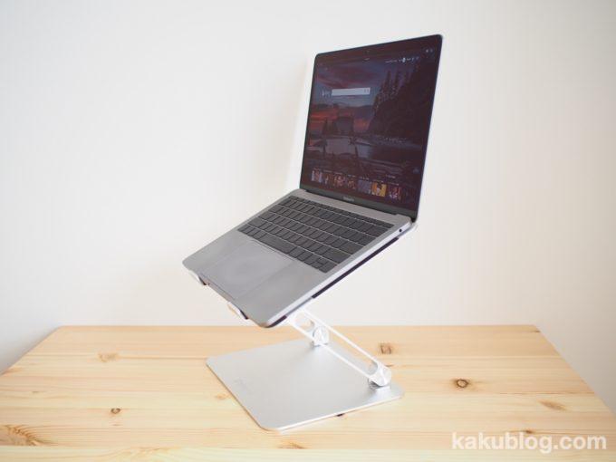 BoYataノートパソコンスタンドにMacBook Pro 13インチを乗せた